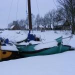 Skutsje in de sneeuw